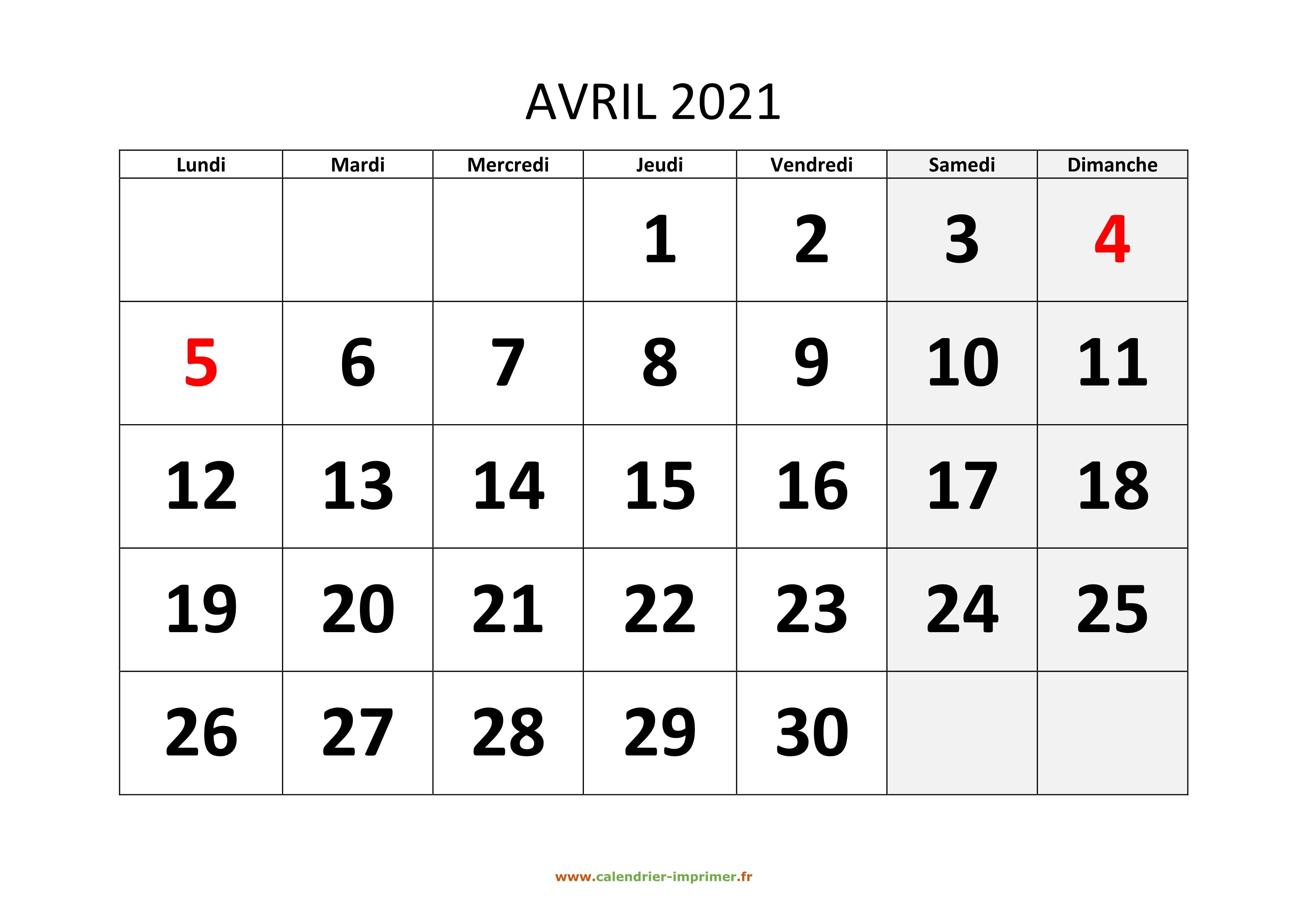 Calendrier Avril 2021 à imprimer
