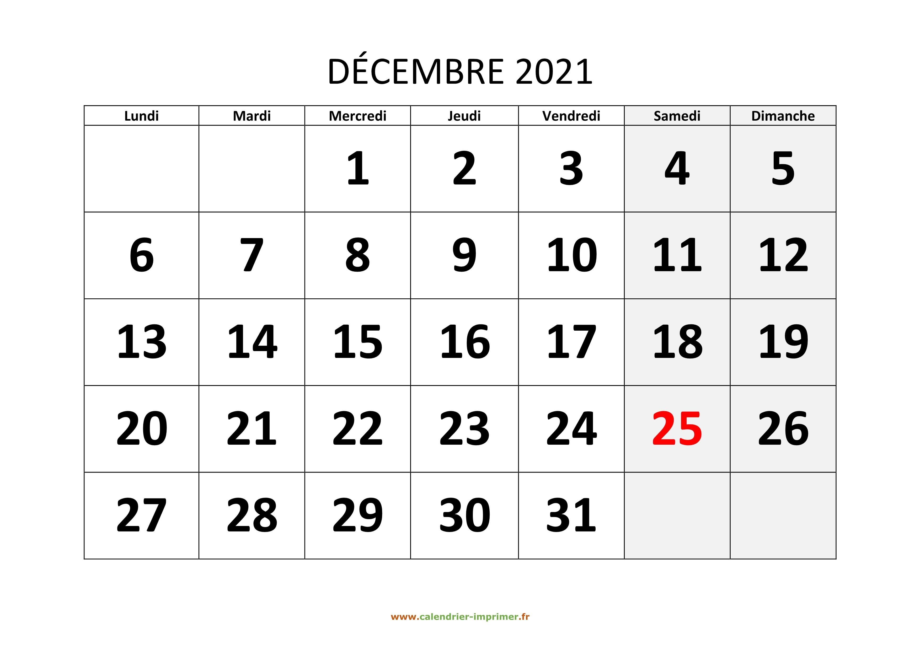 Calendrier Décembre 2021 Calendrier Décembre 2021 à imprimer