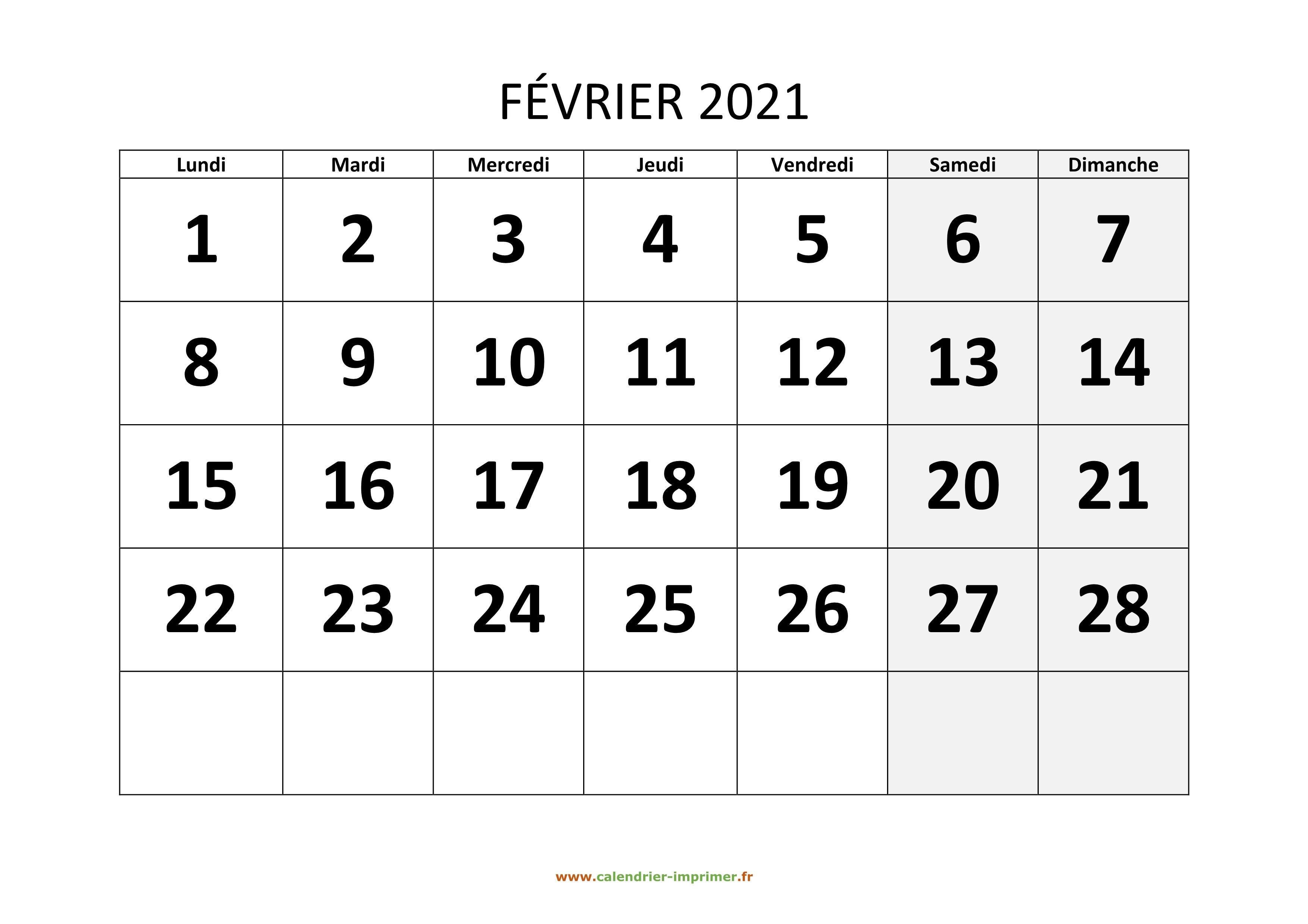 Calendrier Février 2021 à imprimer