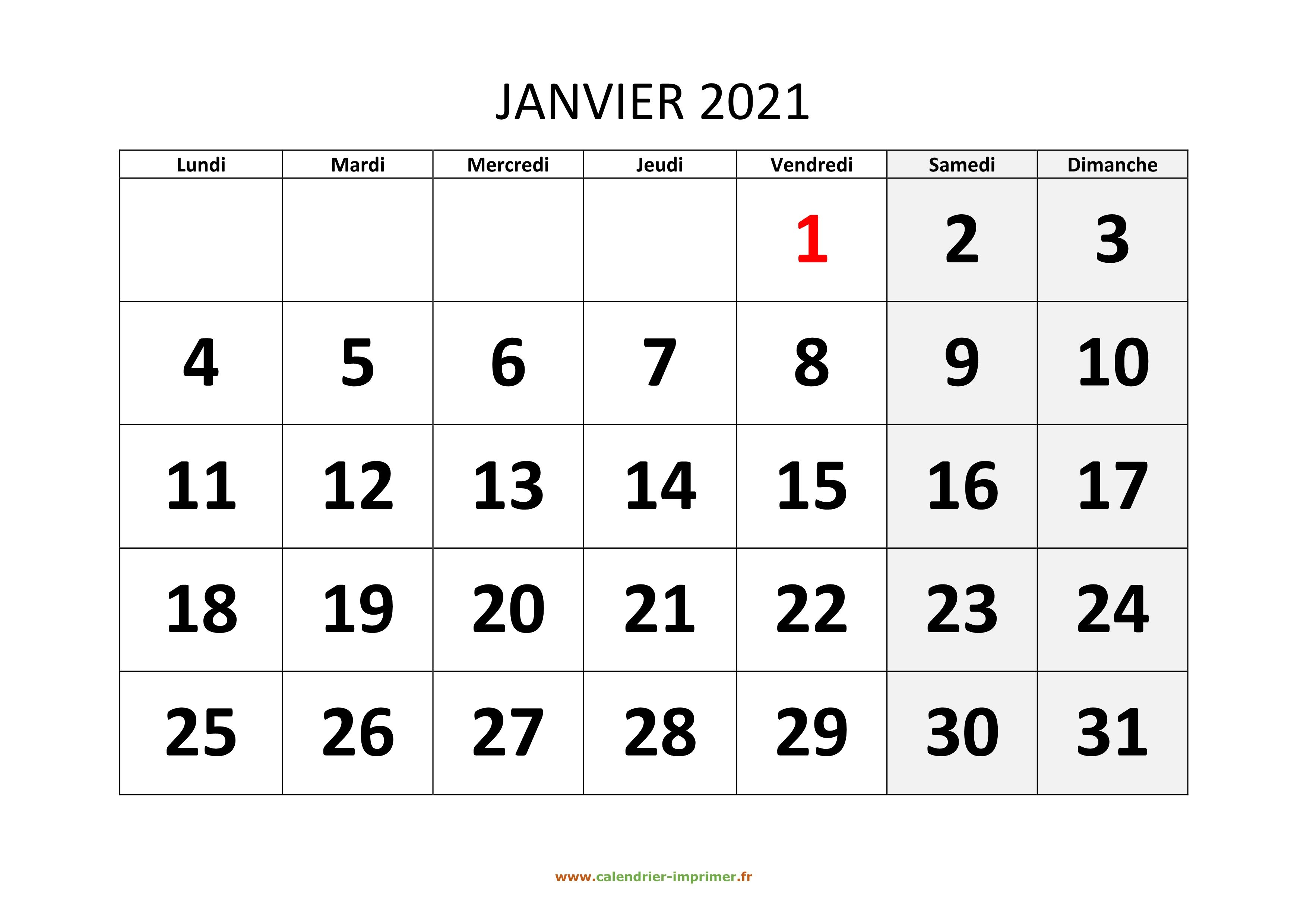 Calendrier 2021 Janvier Calendrier Janvier 2021 à imprimer