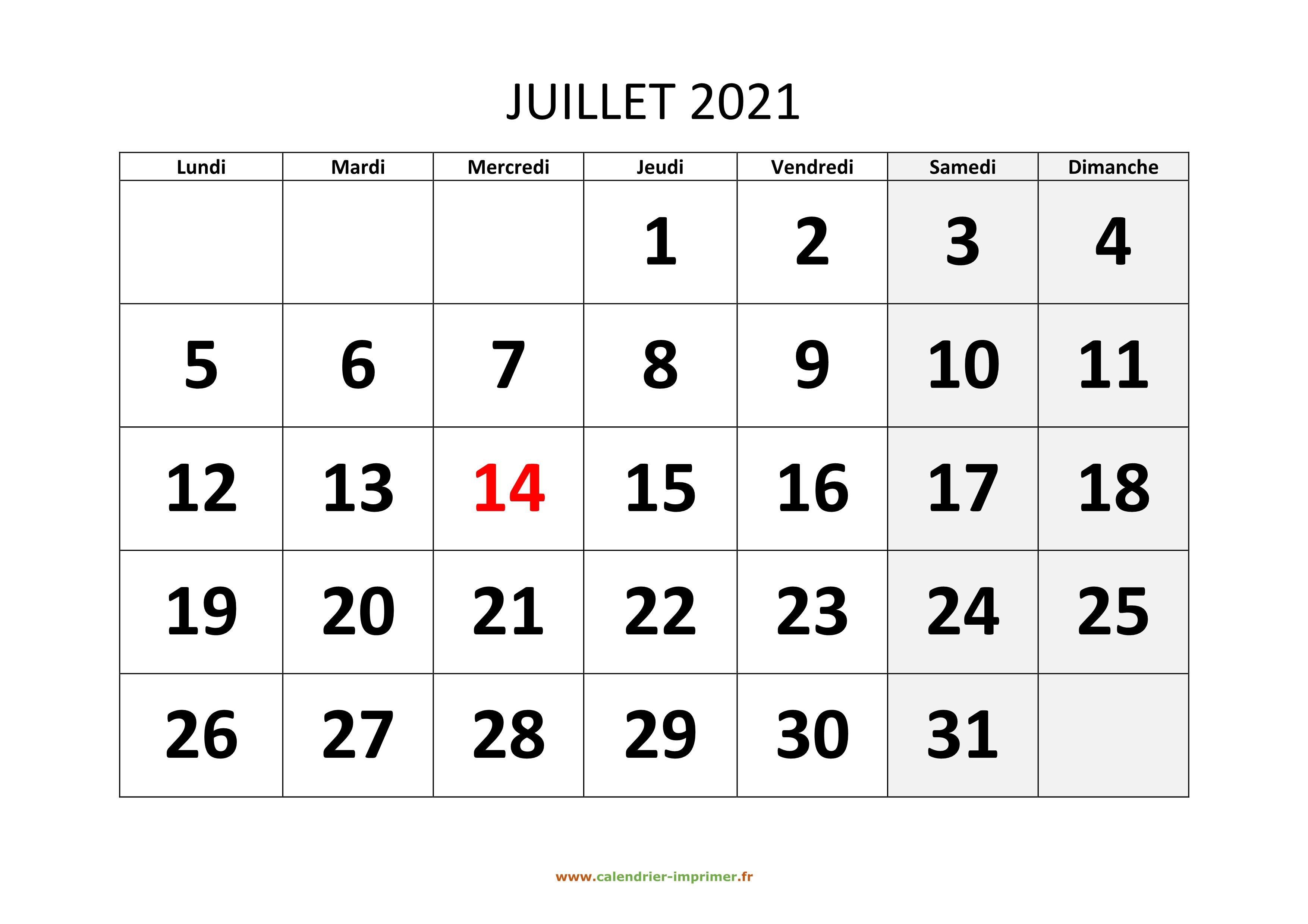 Calendrier Du Mois De Juillet 2021 Calendrier Juillet 2021 à imprimer