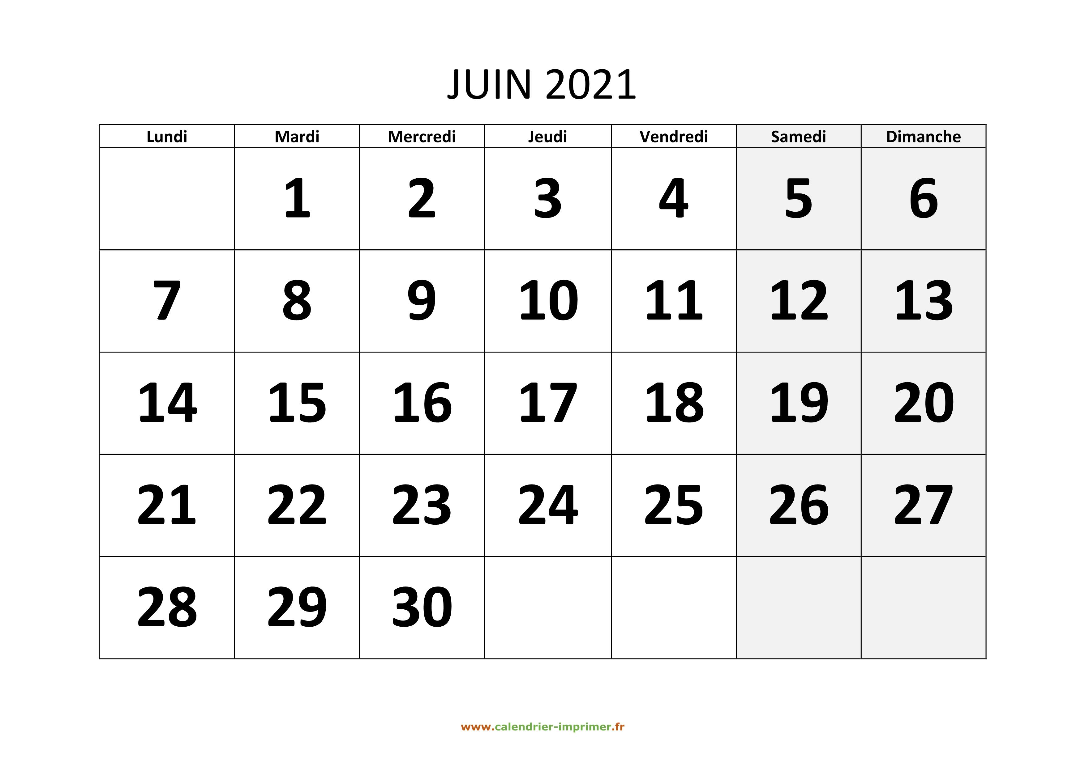 Calendrier Juin 2021 A Imprimer Calendrier Juin 2021 à imprimer