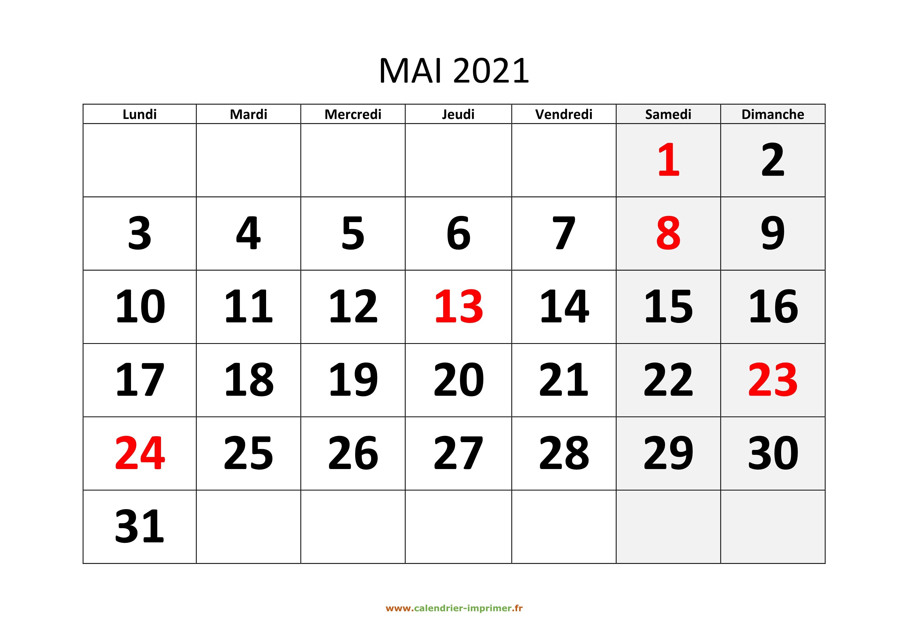 Calendrier 2021 Mois De Mai Calendrier Mai 2021 à imprimer