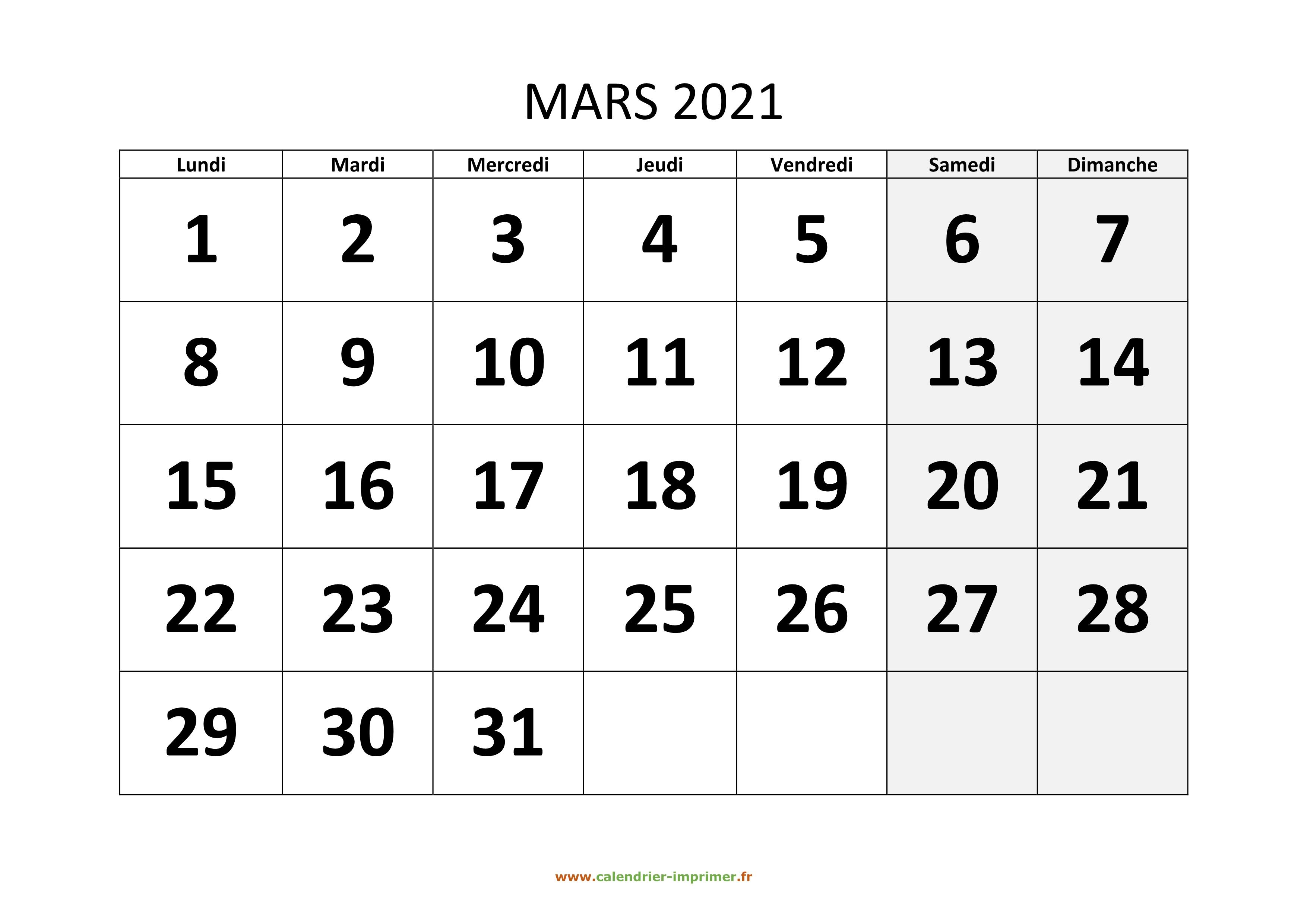 Calendrier Mars 2021 Calendrier Mars 2021 à imprimer