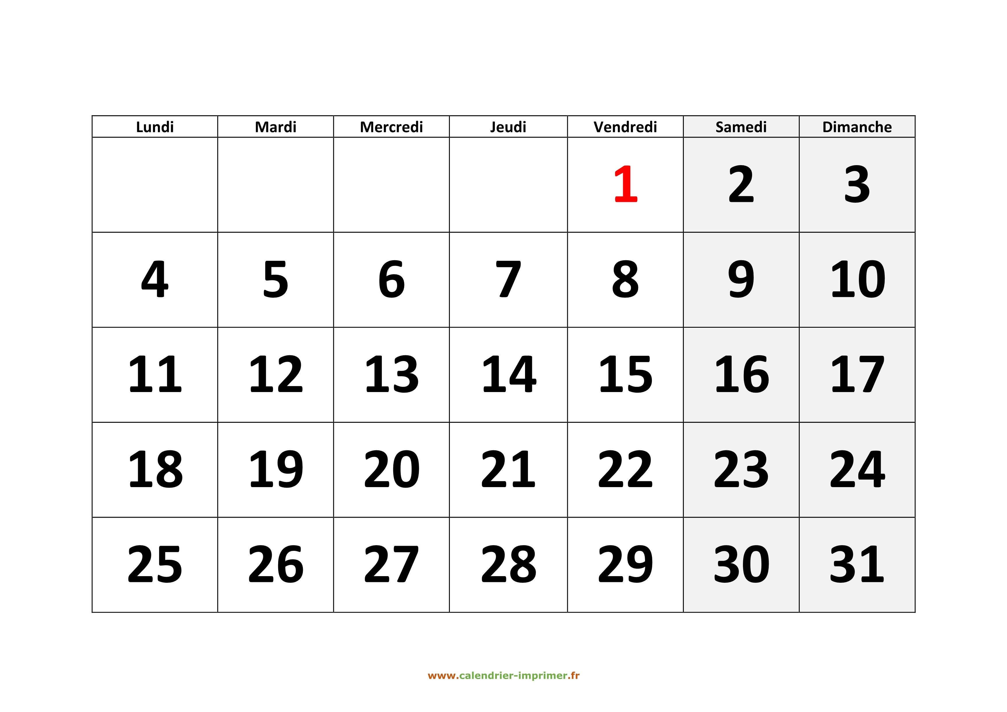 Calendrier Mensuel 2021 à Imprimer Calendrier 2021 à imprimer gratuit