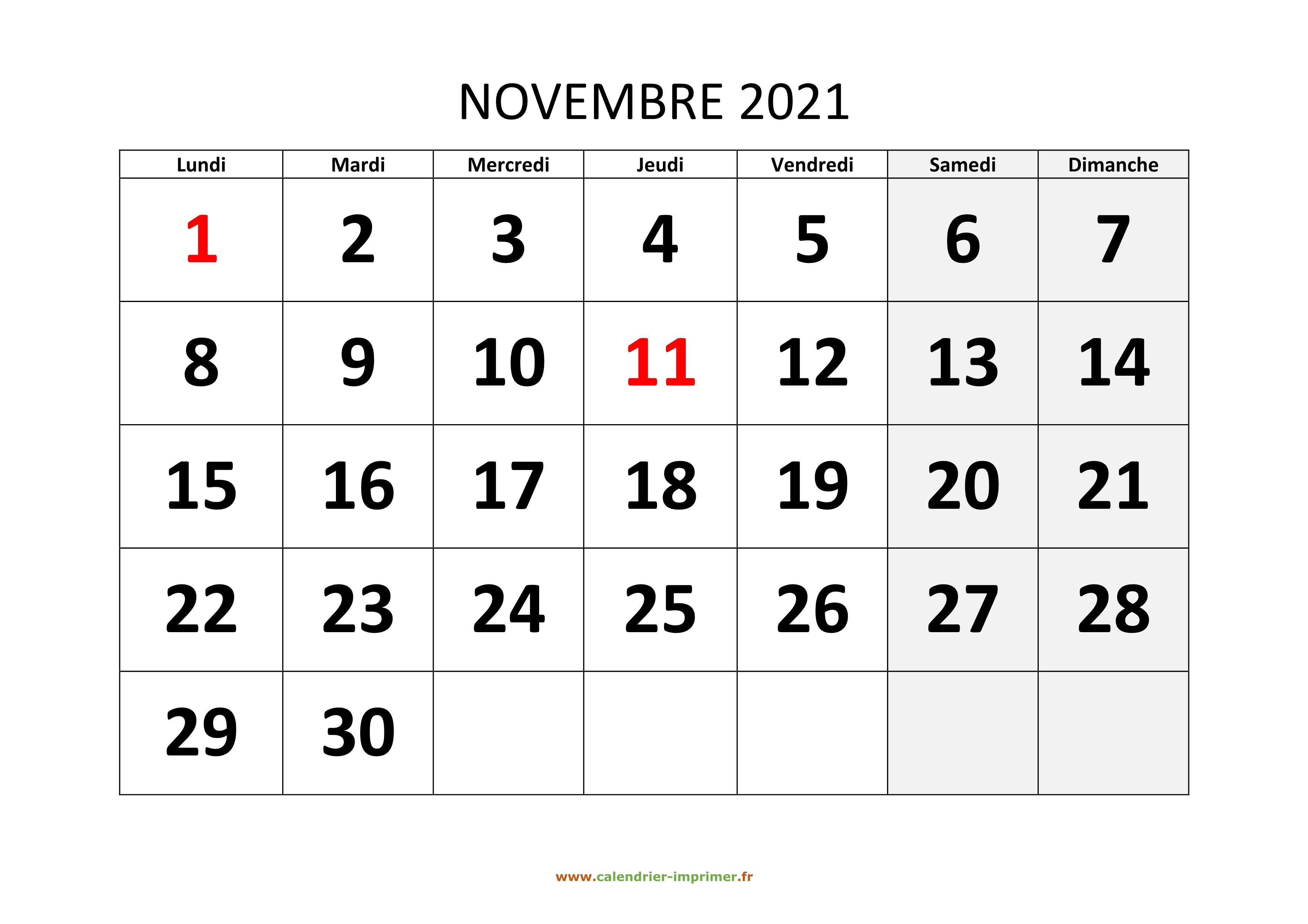 Calendrier Novembre 2021 à Imprimer Calendrier Novembre 2021 à imprimer