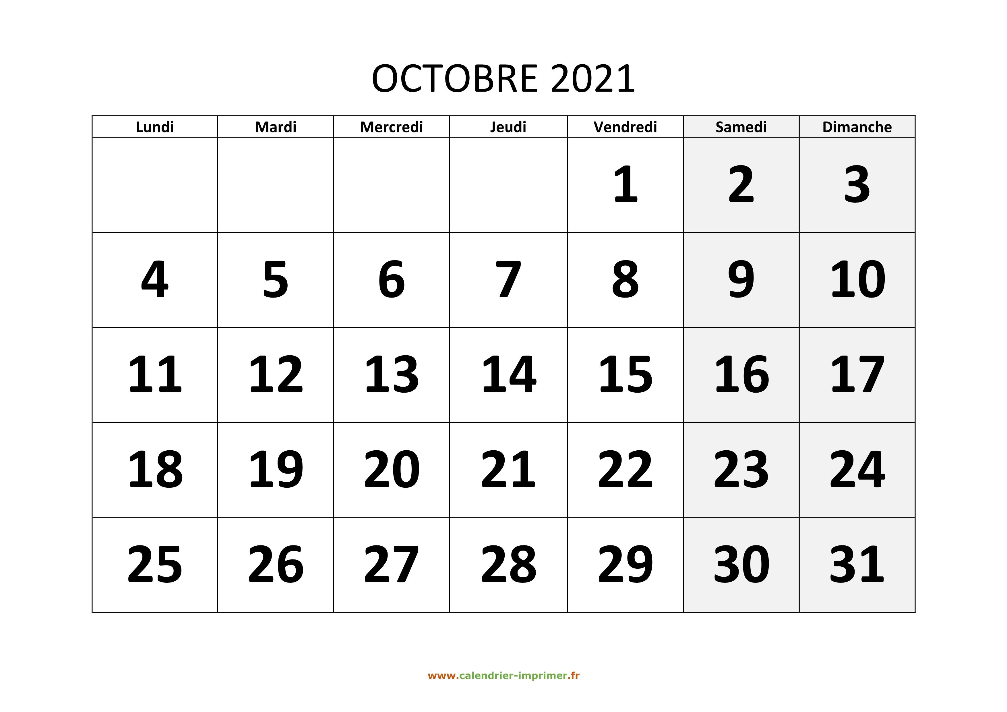 Calendrier Octobre 2021 à imprimer