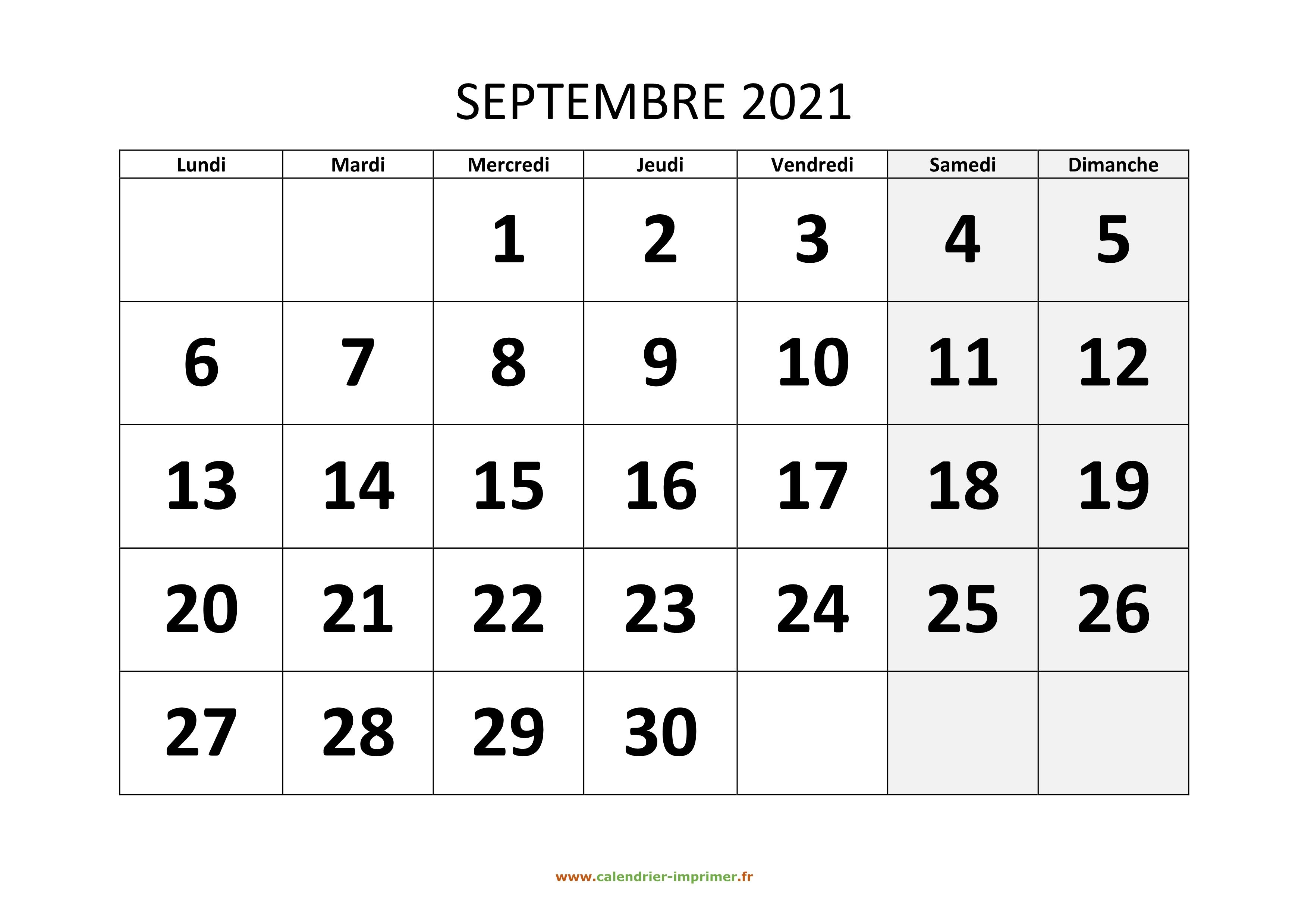 Calendrier Septembre 2021 à Imprimer Gratuit Calendrier Septembre 2021 à imprimer