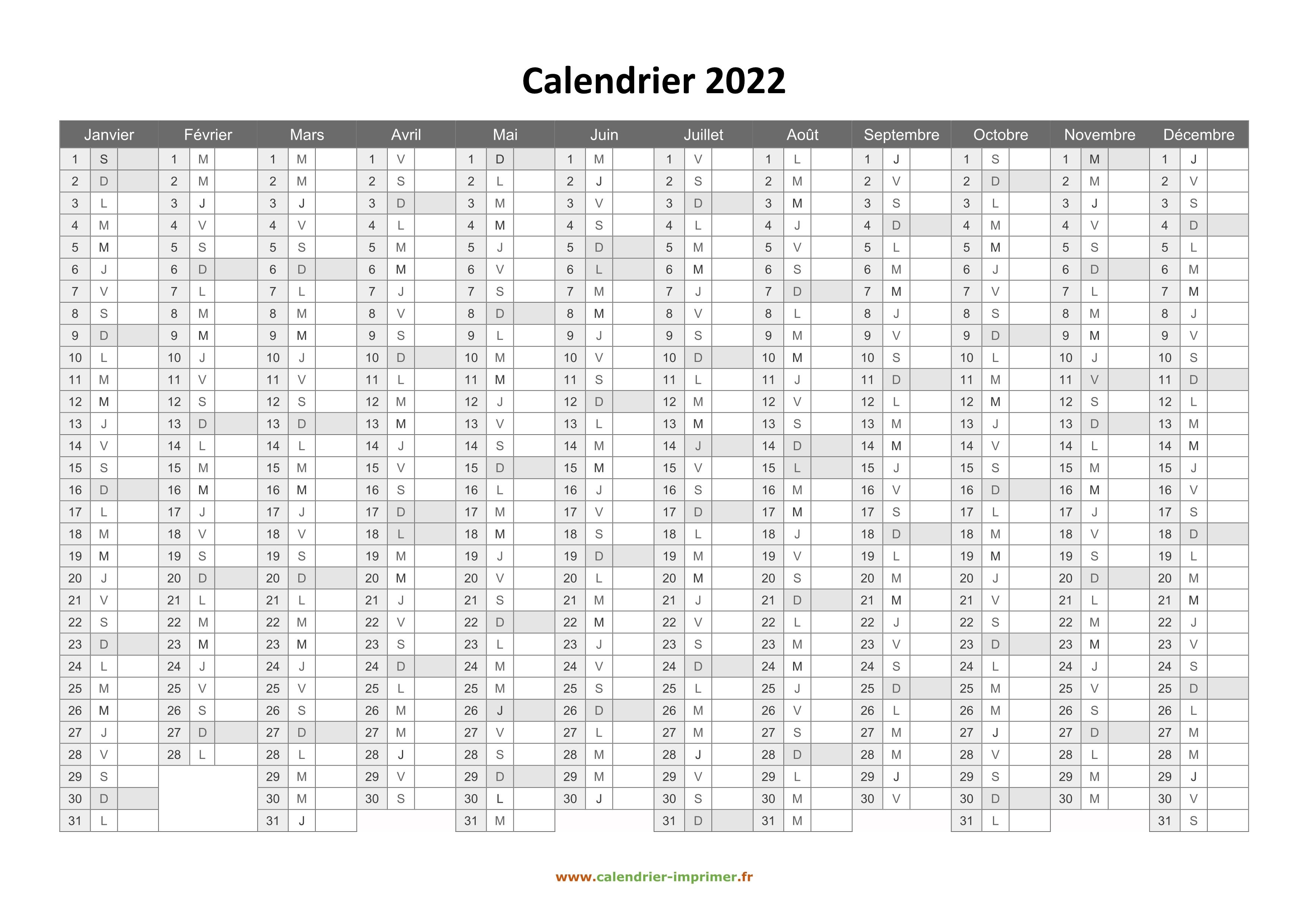 Calendrier à Imprimer Gratuit 2022 Calendrier 2022 à imprimer gratuit