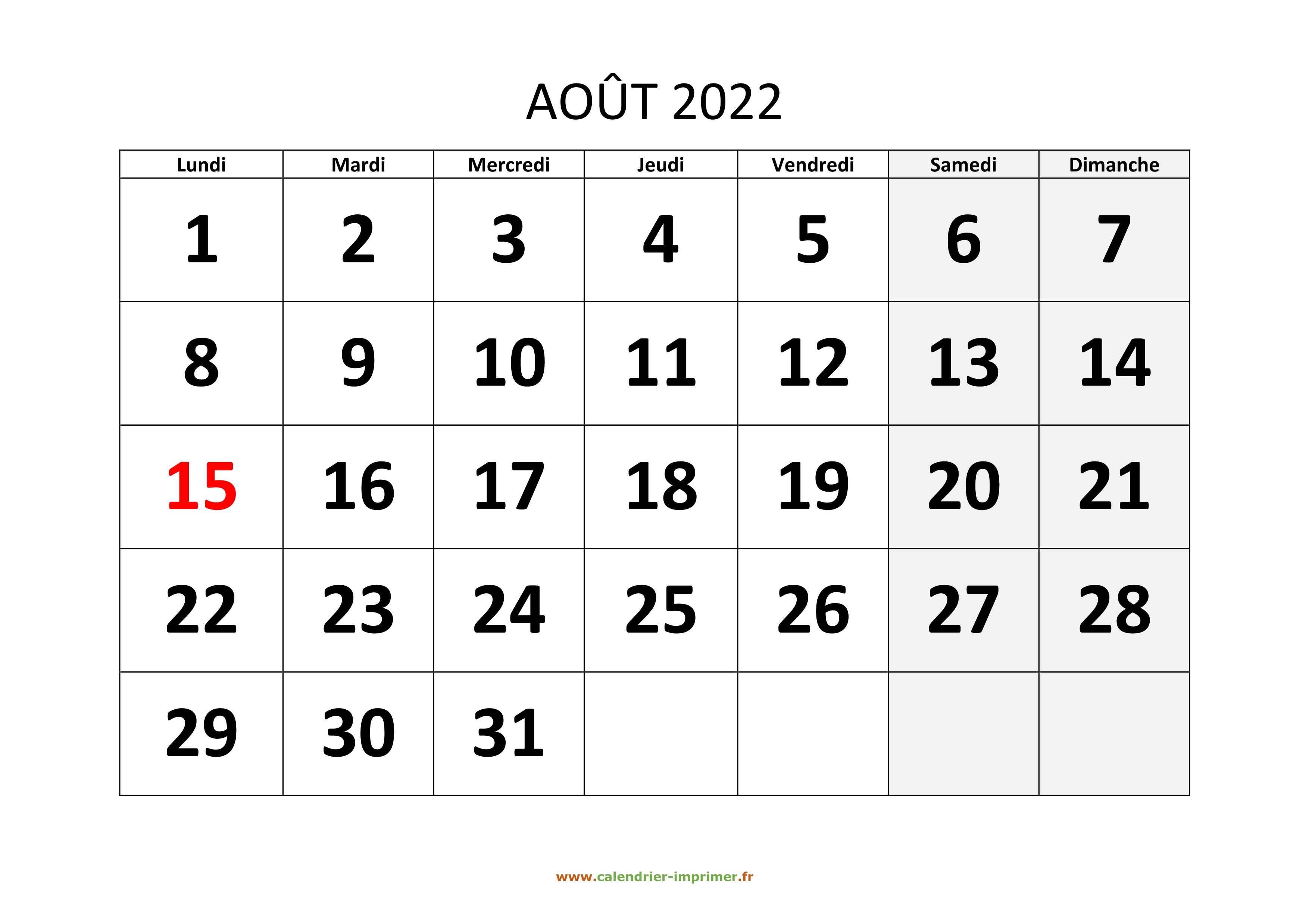 Calendrier Mois Aout 2022 Calendrier Août 2022 à imprimer