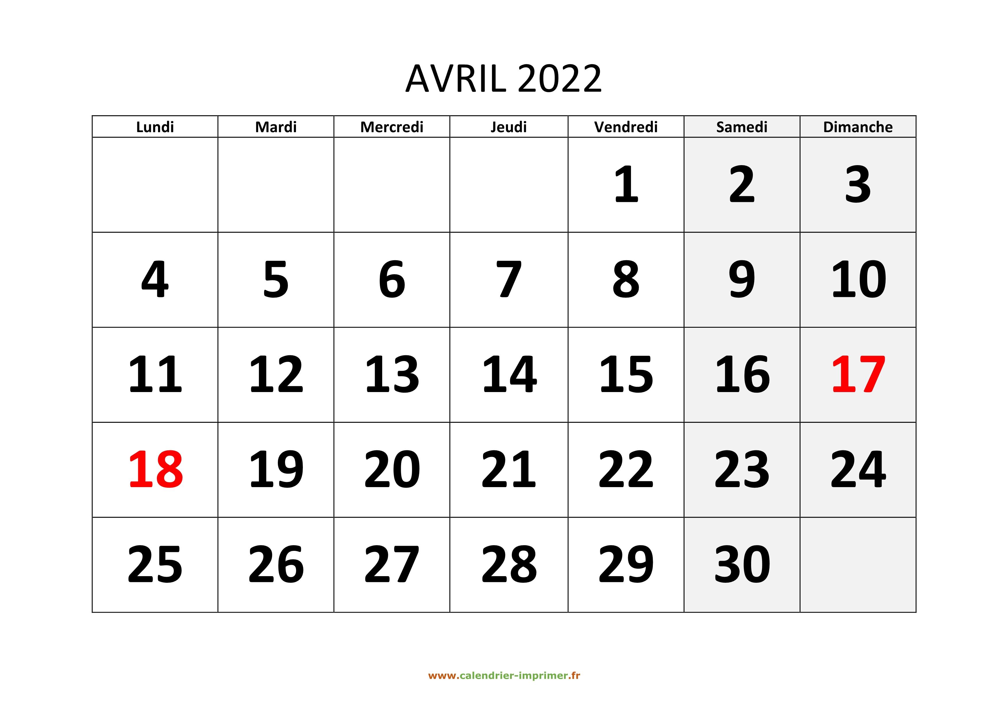 Avril 2022 Calendrier Calendrier Avril 2022 à imprimer