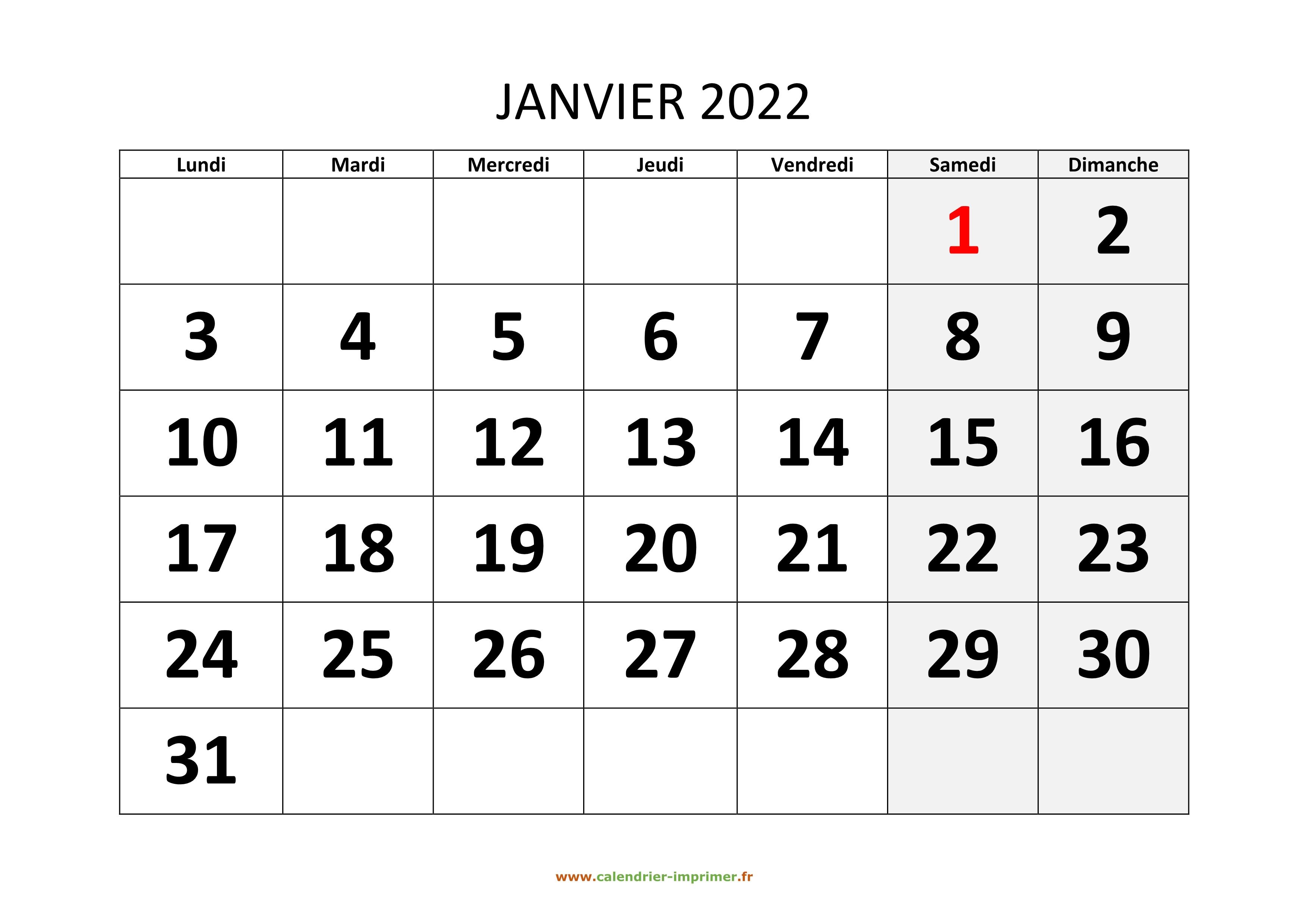 Calendrier De Janvier 2022 Calendrier Janvier 2022 à imprimer