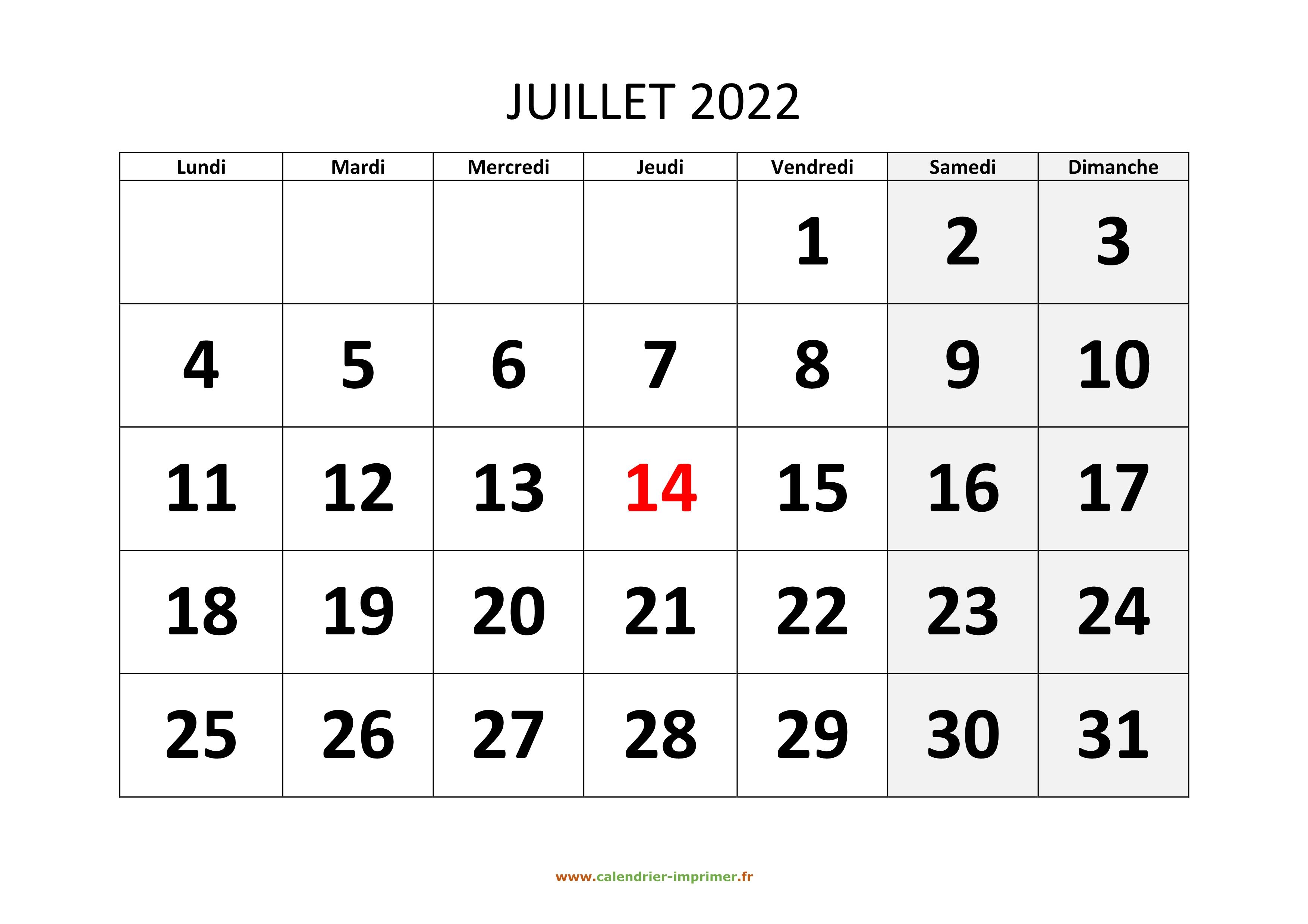 Calendrier Du Mois De Juillet 2022 Calendrier Juillet 2022 à imprimer