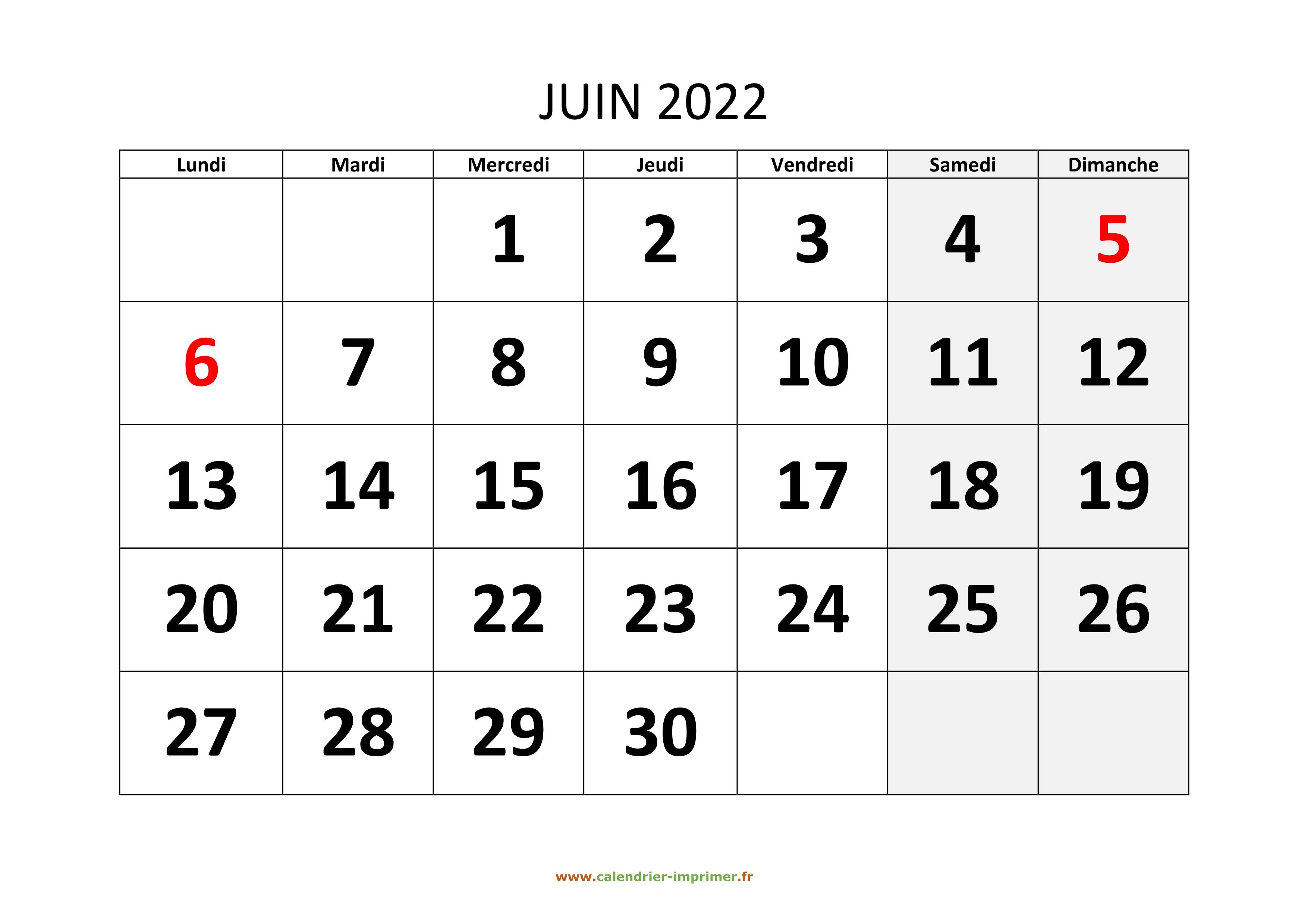 Calendrier Juin 2022 A Imprimer Calendrier Juin 2022 à imprimer