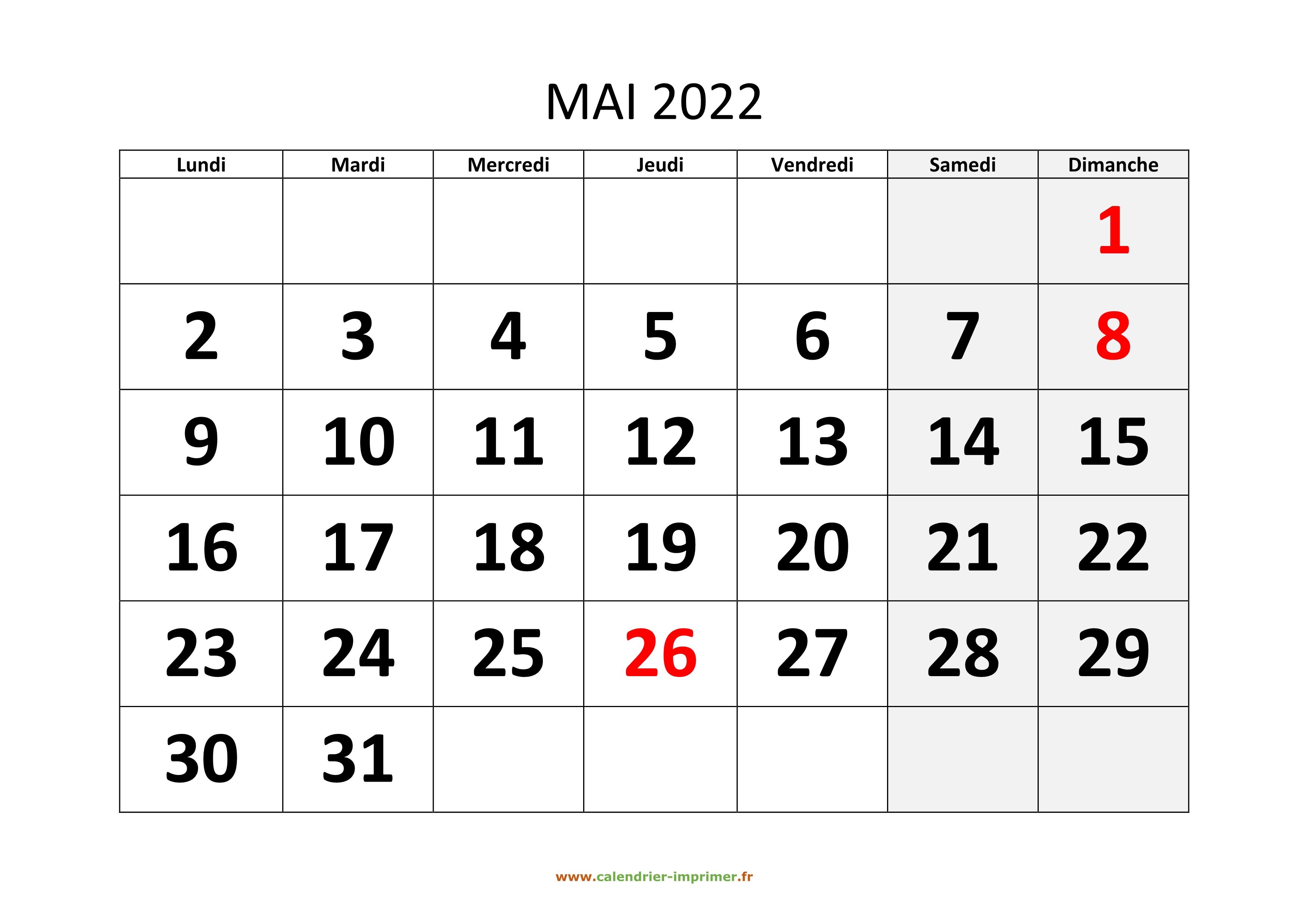 Mai Calendrier 2022 Calendrier Mai 2022 à imprimer