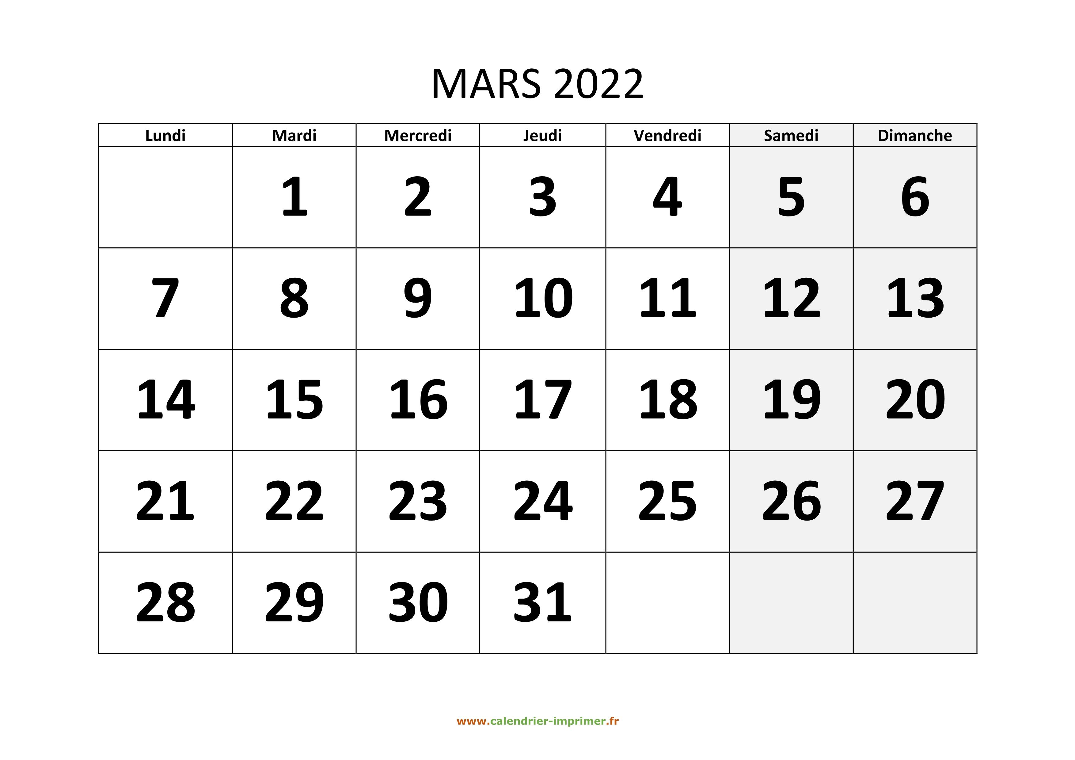 Calendrier Mars 2022 à Imprimer Gratuit Calendrier Mars 2022 à imprimer