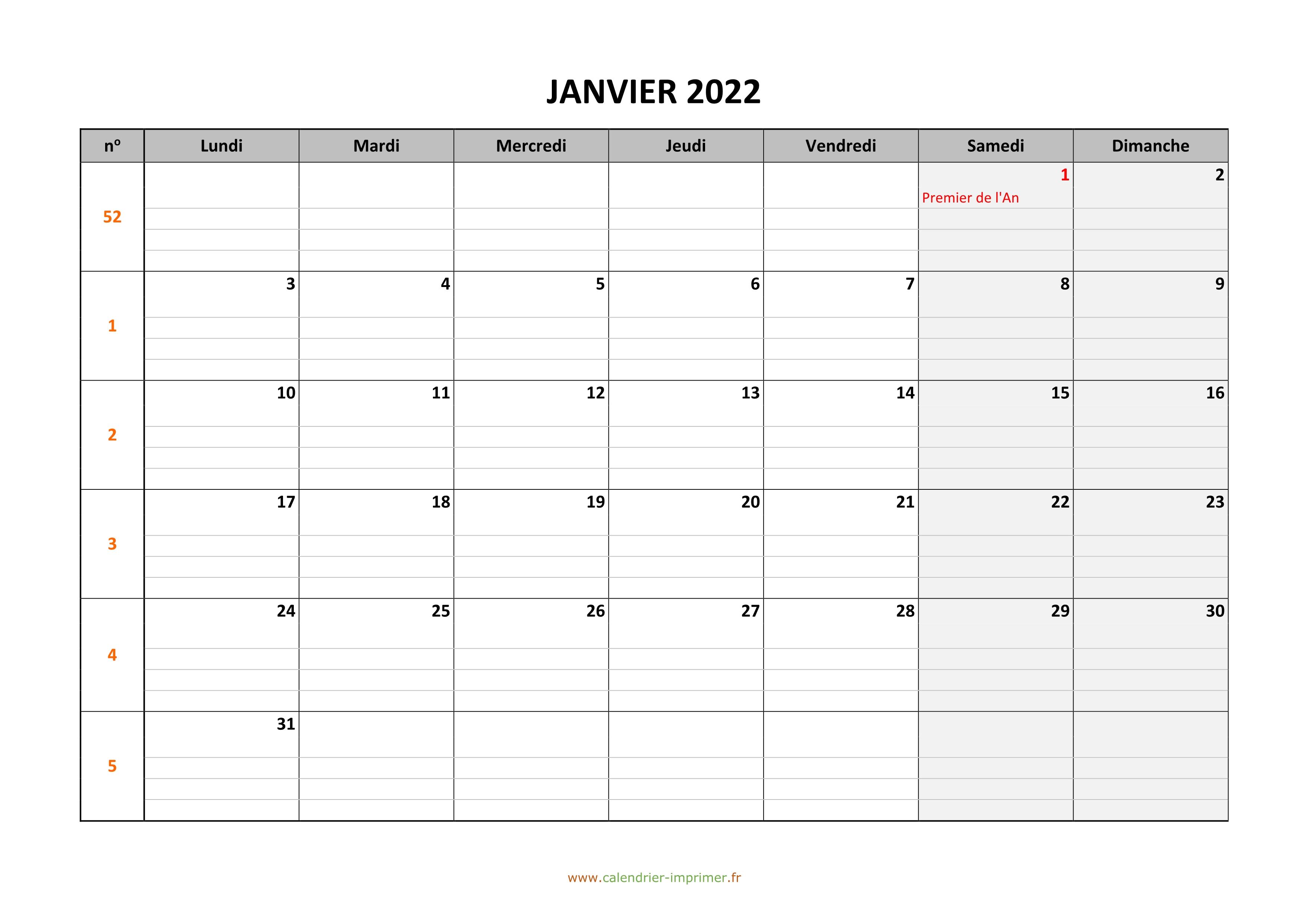 Calendrier Mensuel 2022 à Imprimer Gratuit Calendrier 2022 à imprimer gratuit