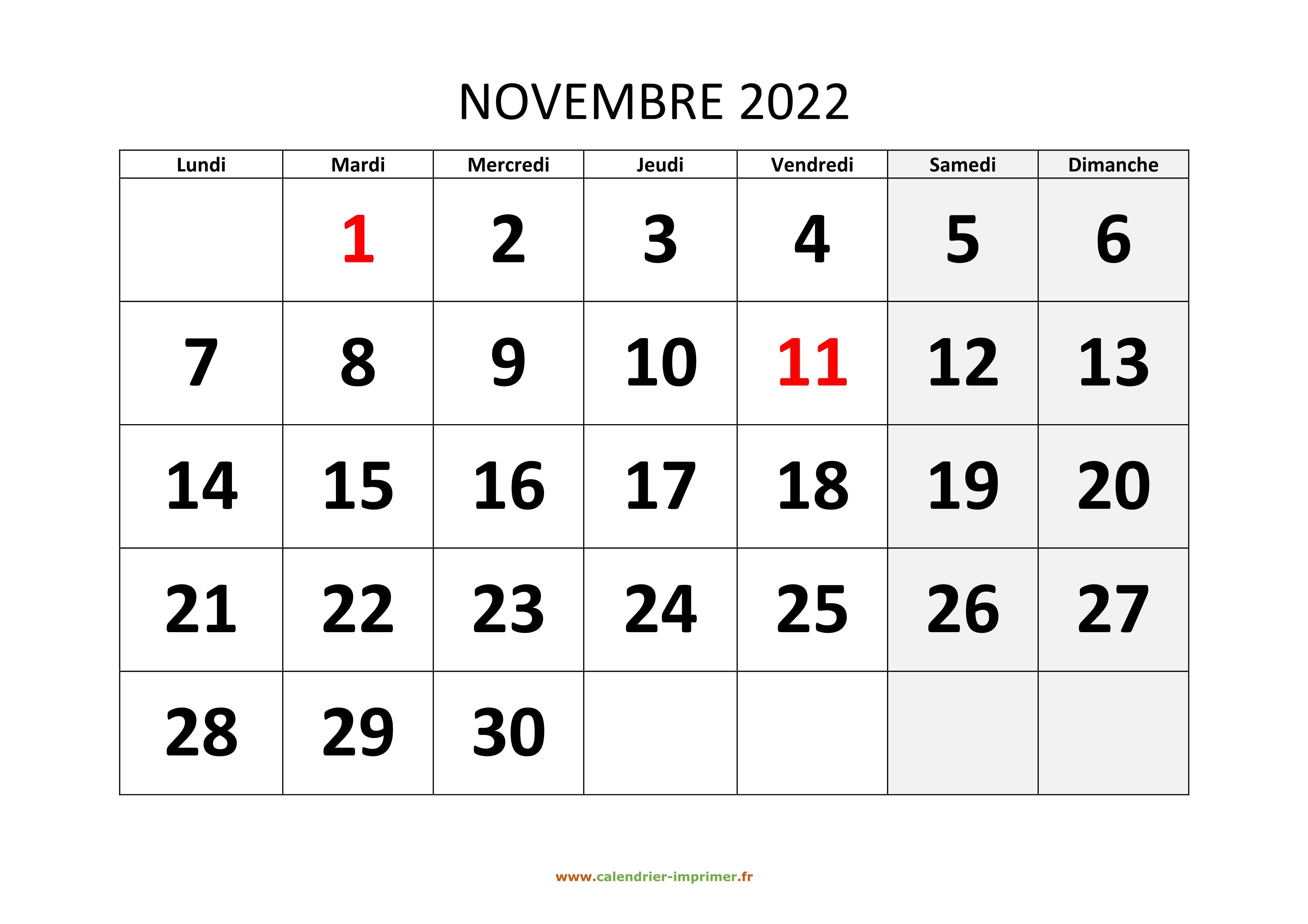 Calendrier 2022 Novembre Calendrier Novembre 2022 à imprimer