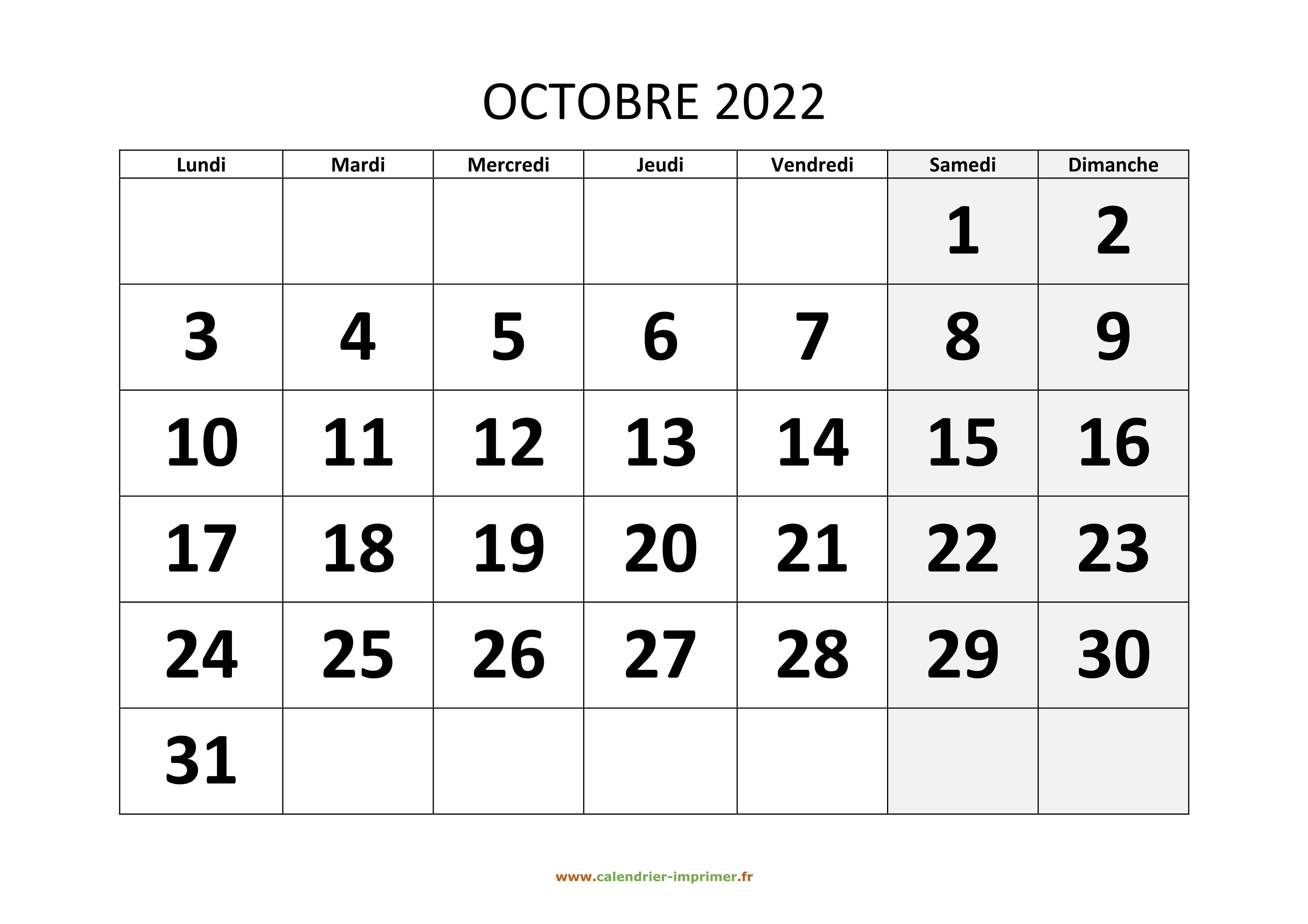 Calendrier Septembre Octobre 2022 Calendrier Octobre 2022 à imprimer
