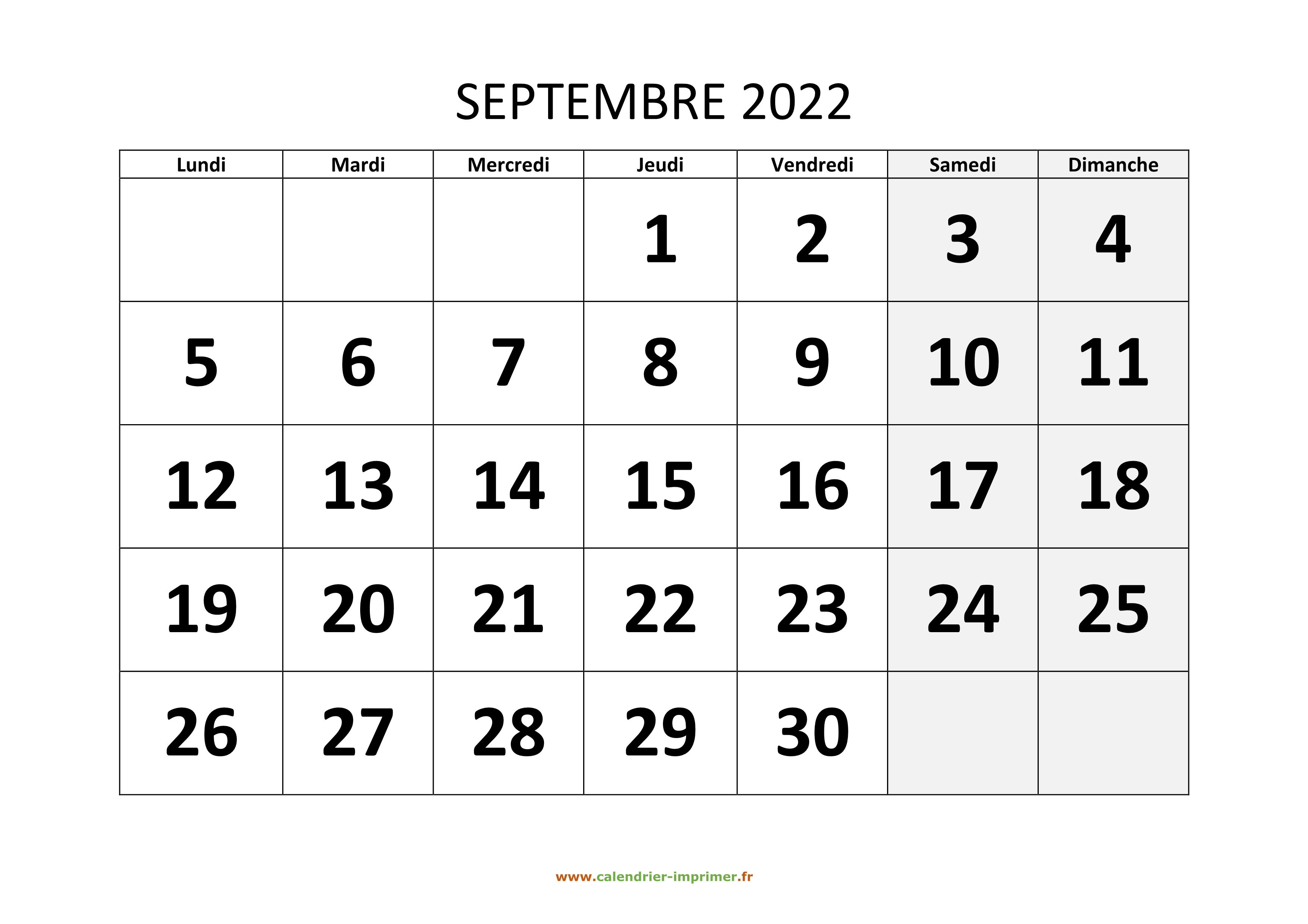 Calendrier Aout Septembre 2022 Calendrier Septembre 2022 à imprimer