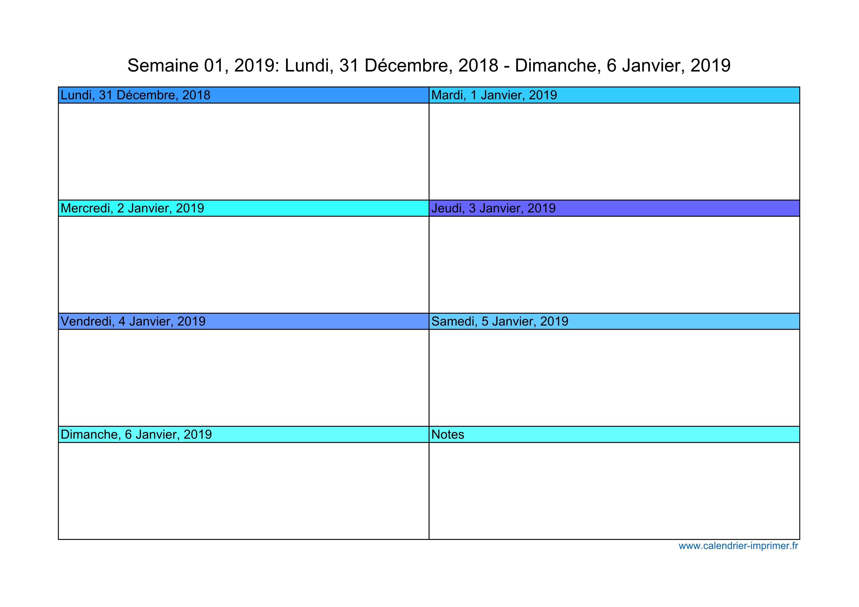 Calendrier Semaine Excel.Calendrier 2019 Semaine Planning Hebdomadaire Semainier