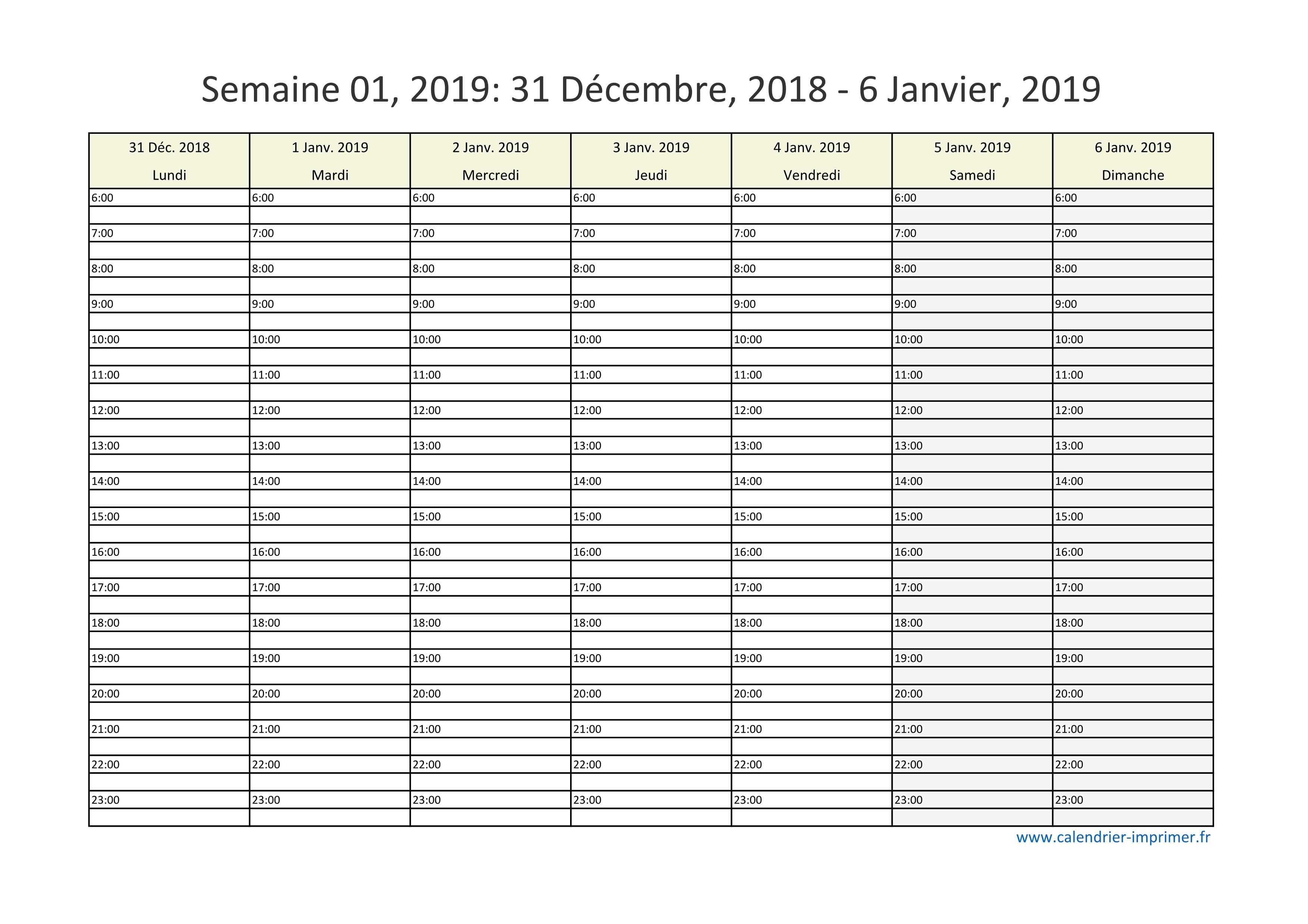 Semaine 2019 Calendrier.Calendrier 2019 Semaine Planning Hebdomadaire Semainier