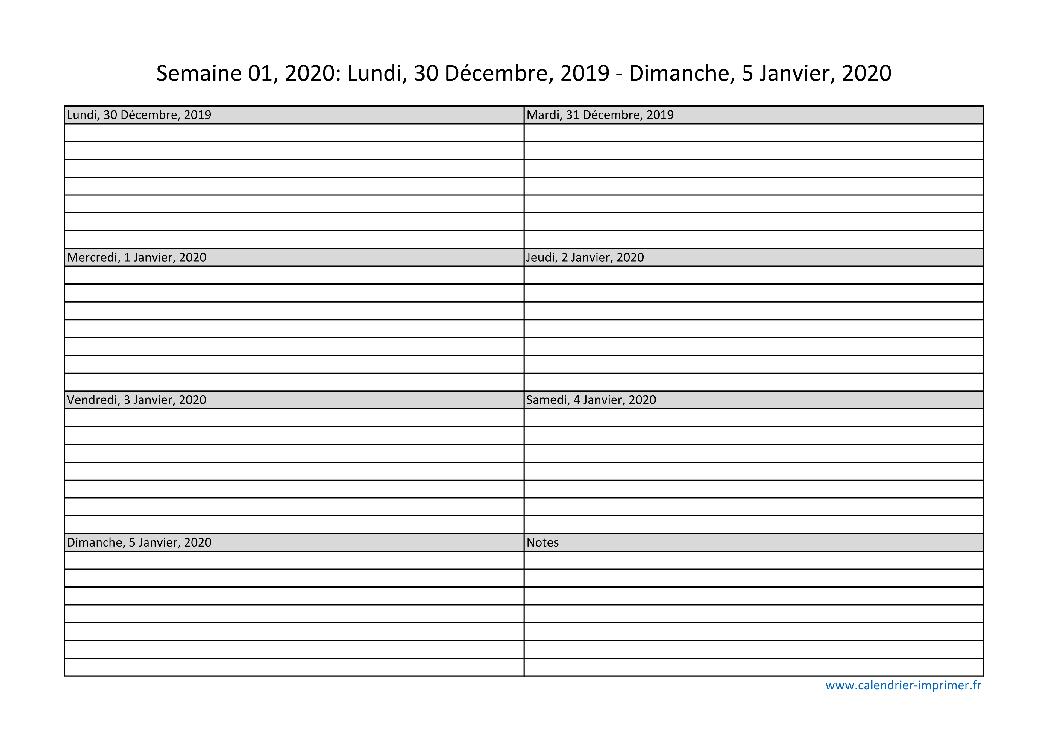 Semaines Calendrier 2020.Calendrier 2020 Semaine Planning Hebdomadaire Semainier