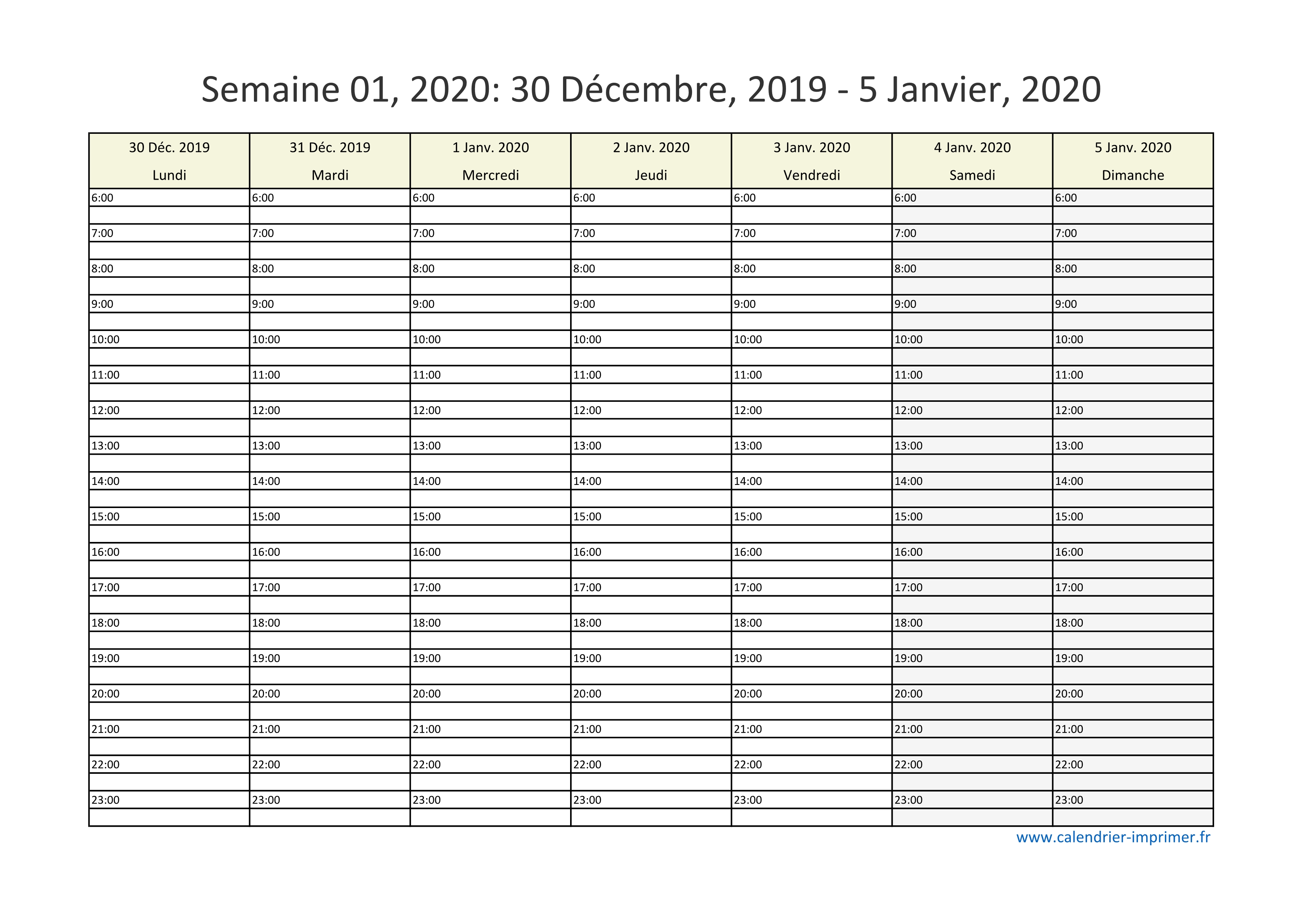 Calendrier 2020 Excell.Calendrier 2020 Semaine Planning Hebdomadaire Semainier