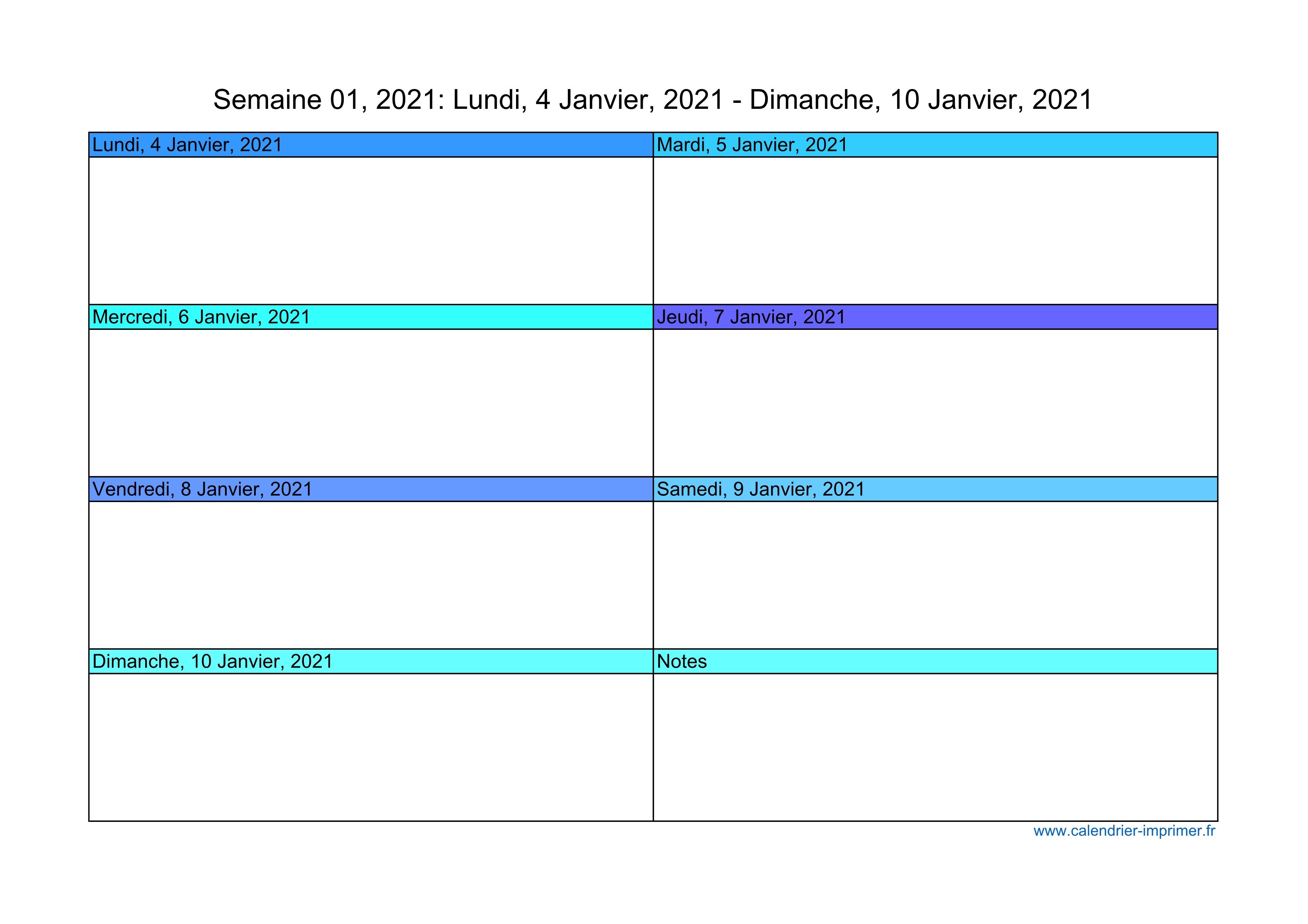 Calendrier 2021 Semaine Planning Hebdomadaire Semainier