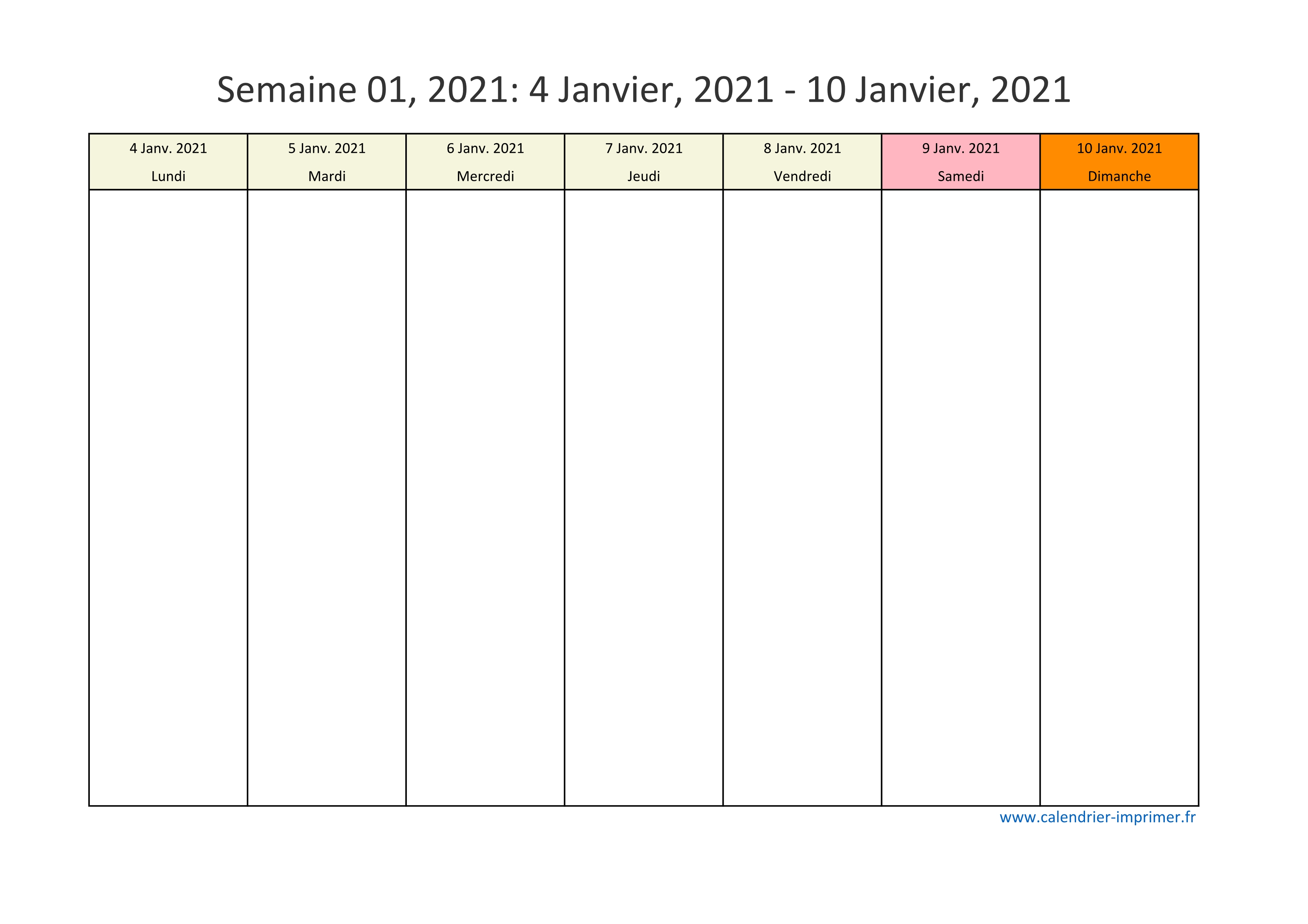 Calendrier 2021 semaine (planning, hebdomadaire, semainier)