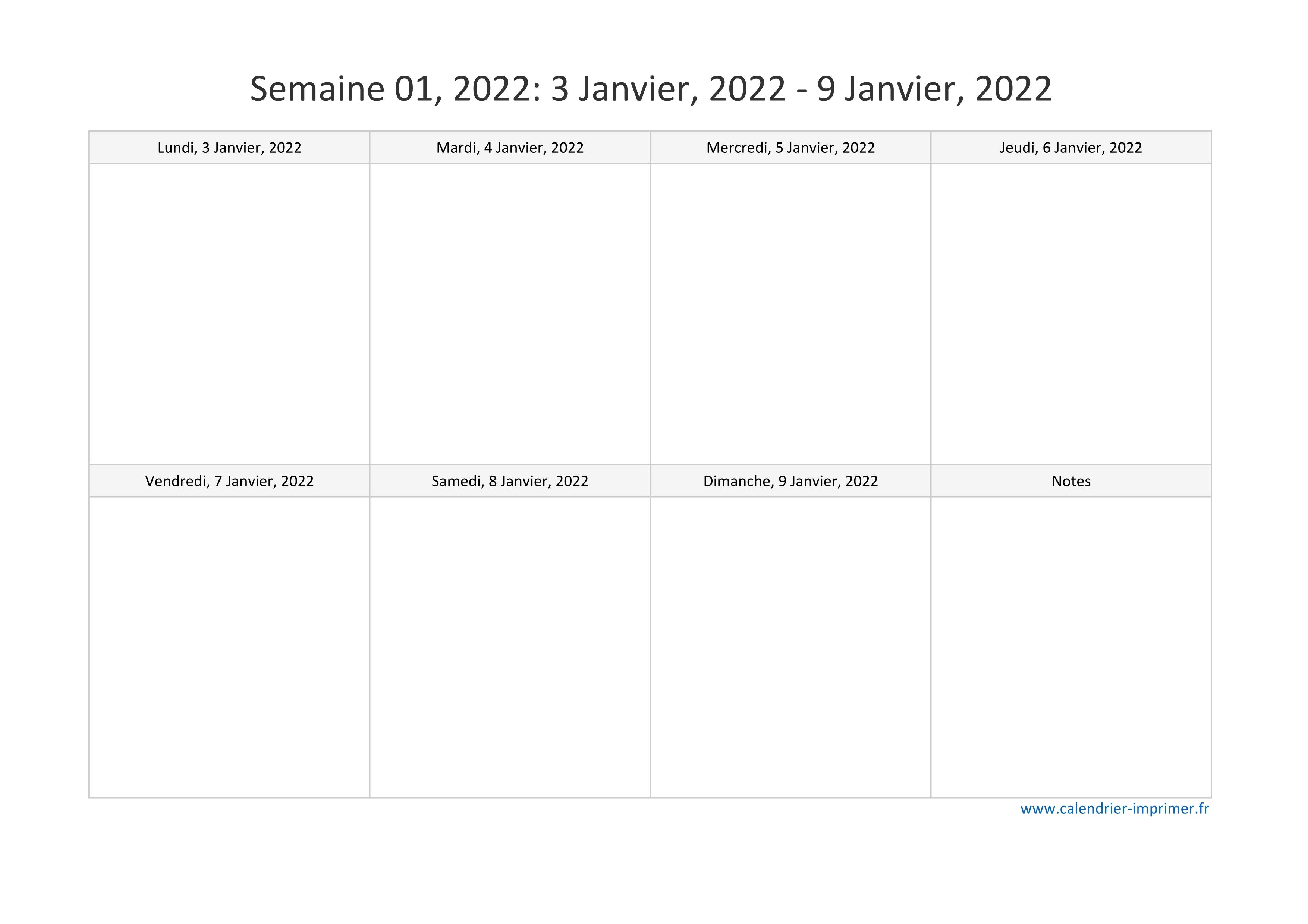 Calendrier Semainier 2022 à Imprimer Calendrier 2022 semaine (planning, hebdomadaire, semainier)
