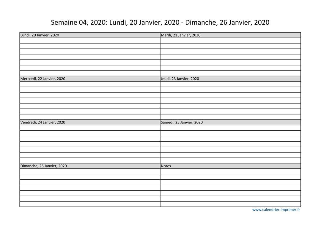 Numéro De Semaine Planning Semaine