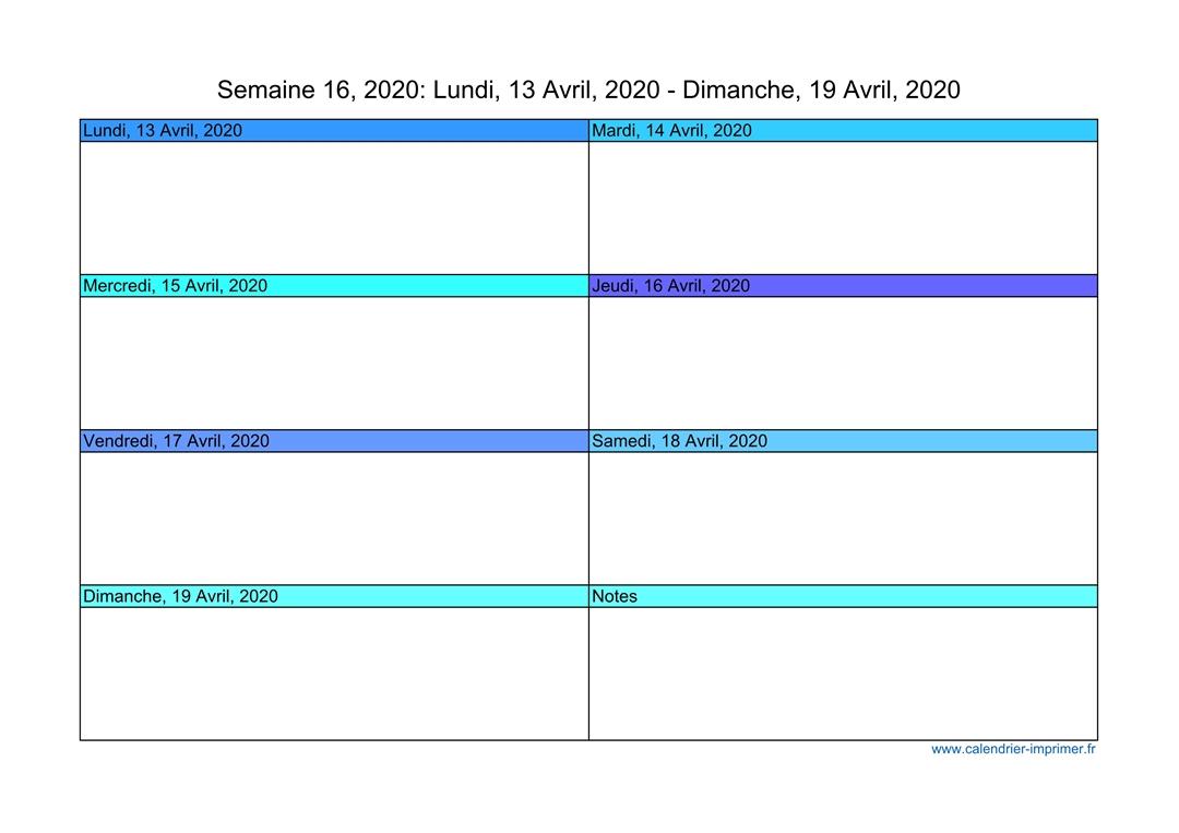 Calendrier 202016 A Imprimer.Semaine 16 2020